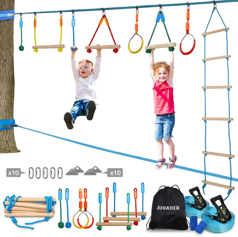 Ninja Line + Support line 2 x Ninja Slackline 42 with 9 Accessories for Kids Ninja Warrior Obstacle Course for Kids Become a Ninja Warrior Trapeze Swing Plus Webbing Ladder Ninja Wheel