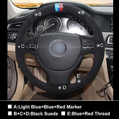 Amazon.com: MEWANT Black Suede Leather Steering Wheel Wrap Cover for BMW F10 523Li 525Li 2009 730Li 740Li 750Li with Light Blue Blue Red Marker: Automotive