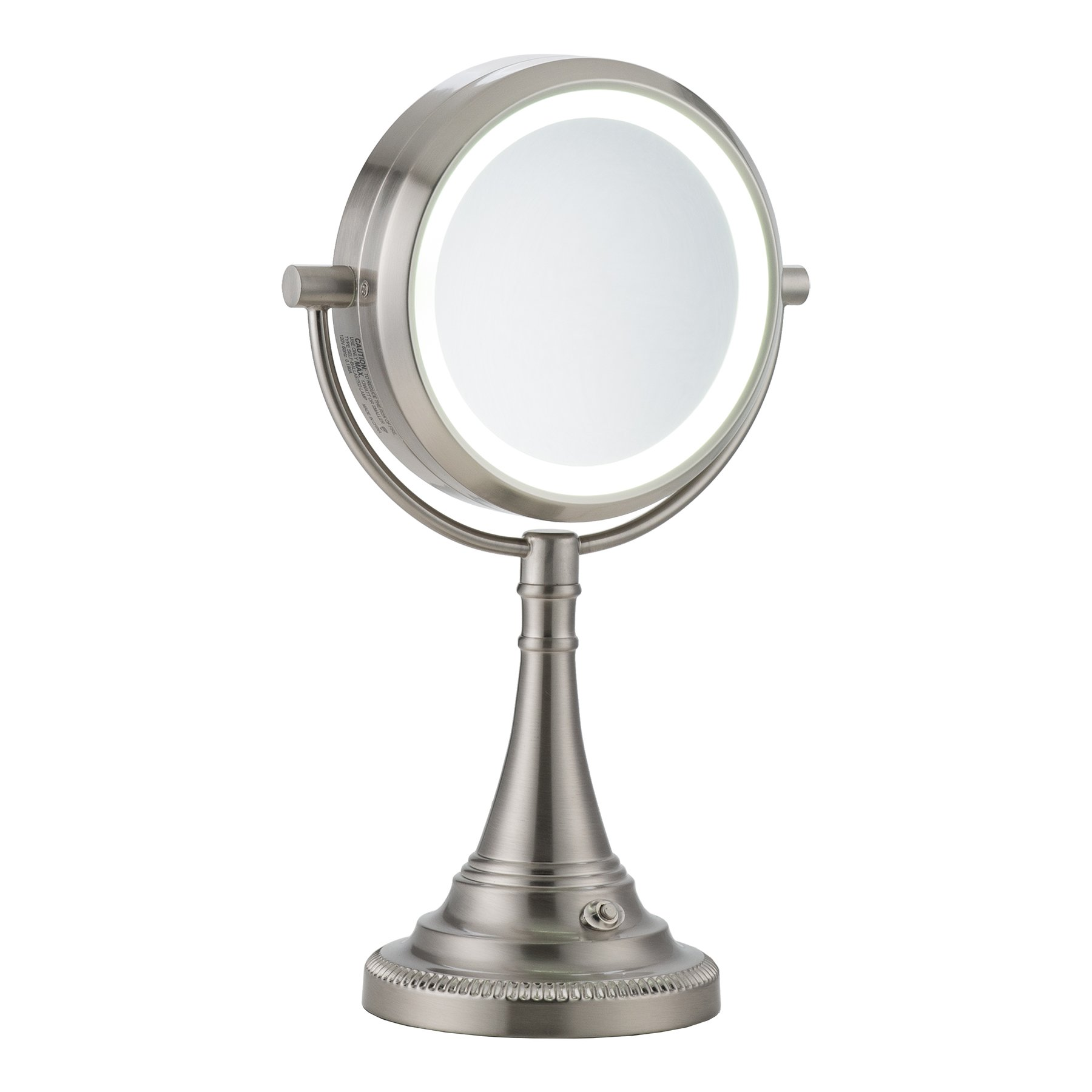 CO-Z 10x Magnifying Makeup Mirror, Elegant Vanity Magnifying Mirror with Light, Modern Dual Sided Brushed Nickel Tabletop Face Lighted Mirror with 10x Magnification for Women's Dresser