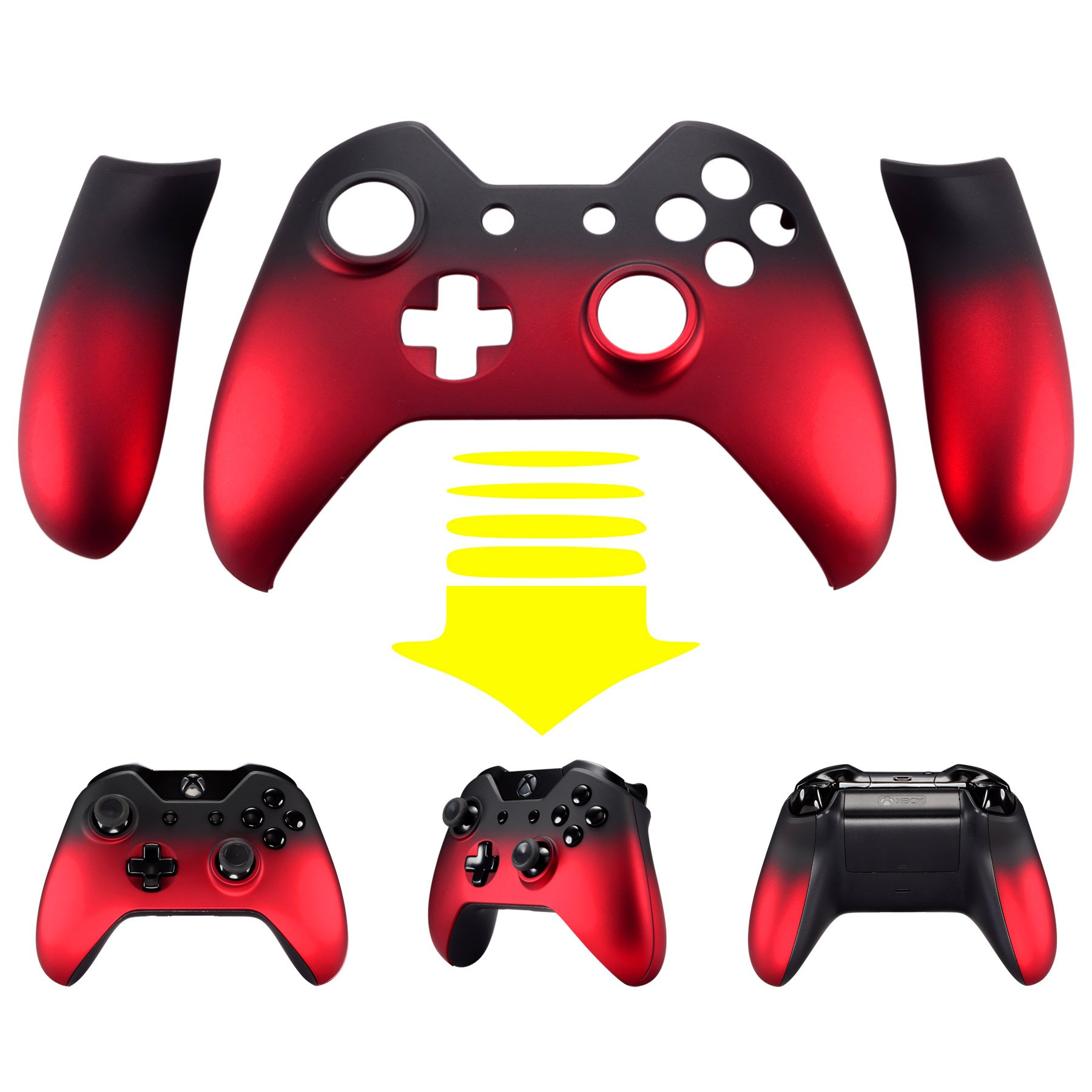 eXtremeRate Shadow Red Soft Touch Front Housing Shell Faceplate Replacement Parts Side Rails Panel for Xbox One Standard Controller W/3.5 mm by eXtremeRate