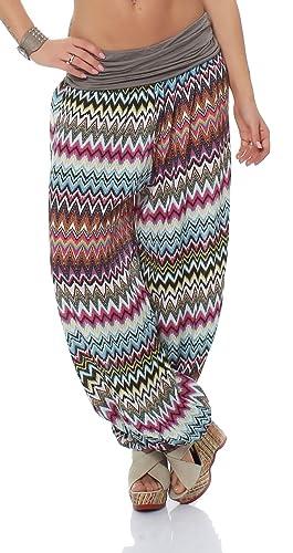 malito Bombacho con zigzag diseño Boyfriend Aladin Harem Pantalón Sudadera Baggy Yoga 7197 Mujer Tal...