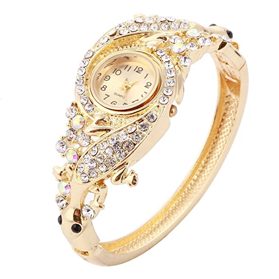 2e6028203 Amazon.com: Womens Quartz Bangle Wrist Watch Lady Crystal Jewelry ...
