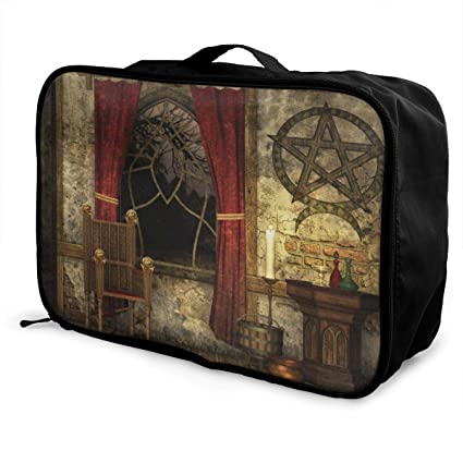 44259a7cac8d Amazon.com: Ancient Pentagram Symbol and Red Curtains Canvas Travel ...