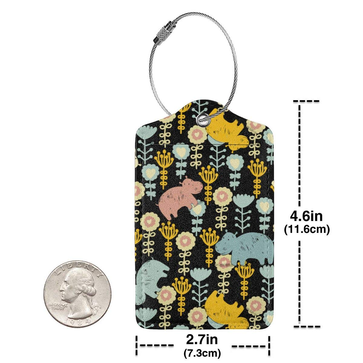 GoldK Hippo Flowers Leather Luggage Tags Baggage Bag Instrument Tag Travel Labels Accessories with Privacy Cover