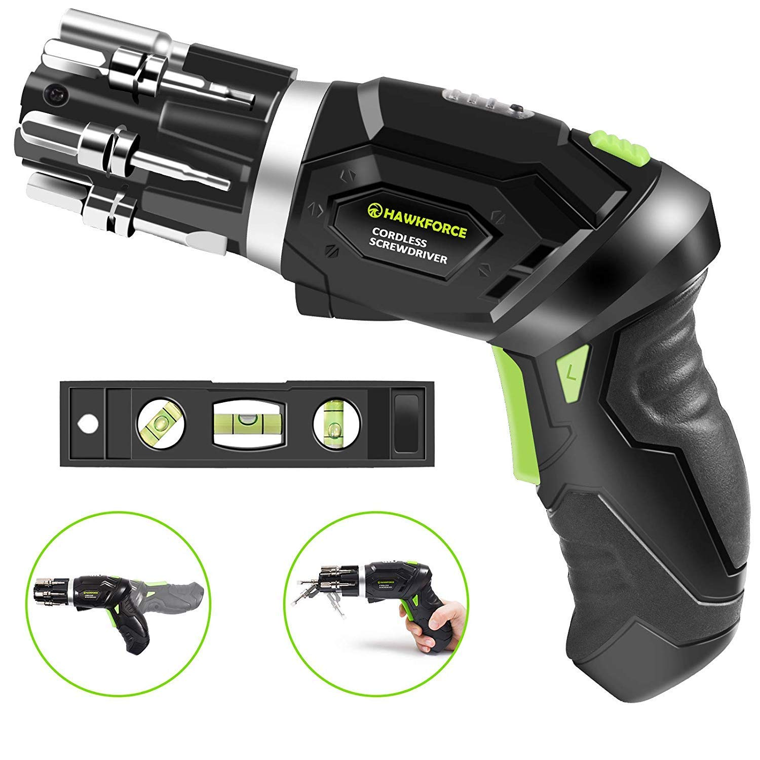 Hawkforce 3.6 Volt Rechargeable Cordless Electric Screwdriver Set 2 Adjustable Position Handle, 2 Phillips, 2 Flathead, 2 Hex Bits and Front LED Light with Bubble Level Fit for Newbies, Experienced