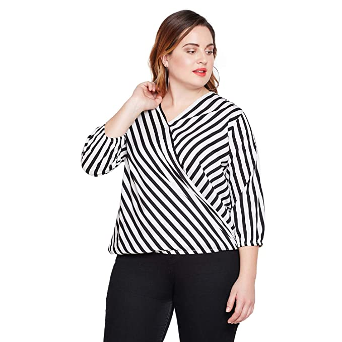 51d840d0646 STYLE QUOTIENT V Neck Printed Blouson Plus Size Top for Women Western Wear  Office Casual wear top for Girls Big Size