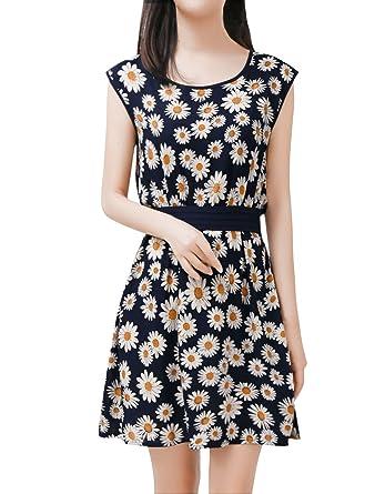 Allegra K Women Round Neck Sleeveless A-Line Casual Chiffon Dress ...