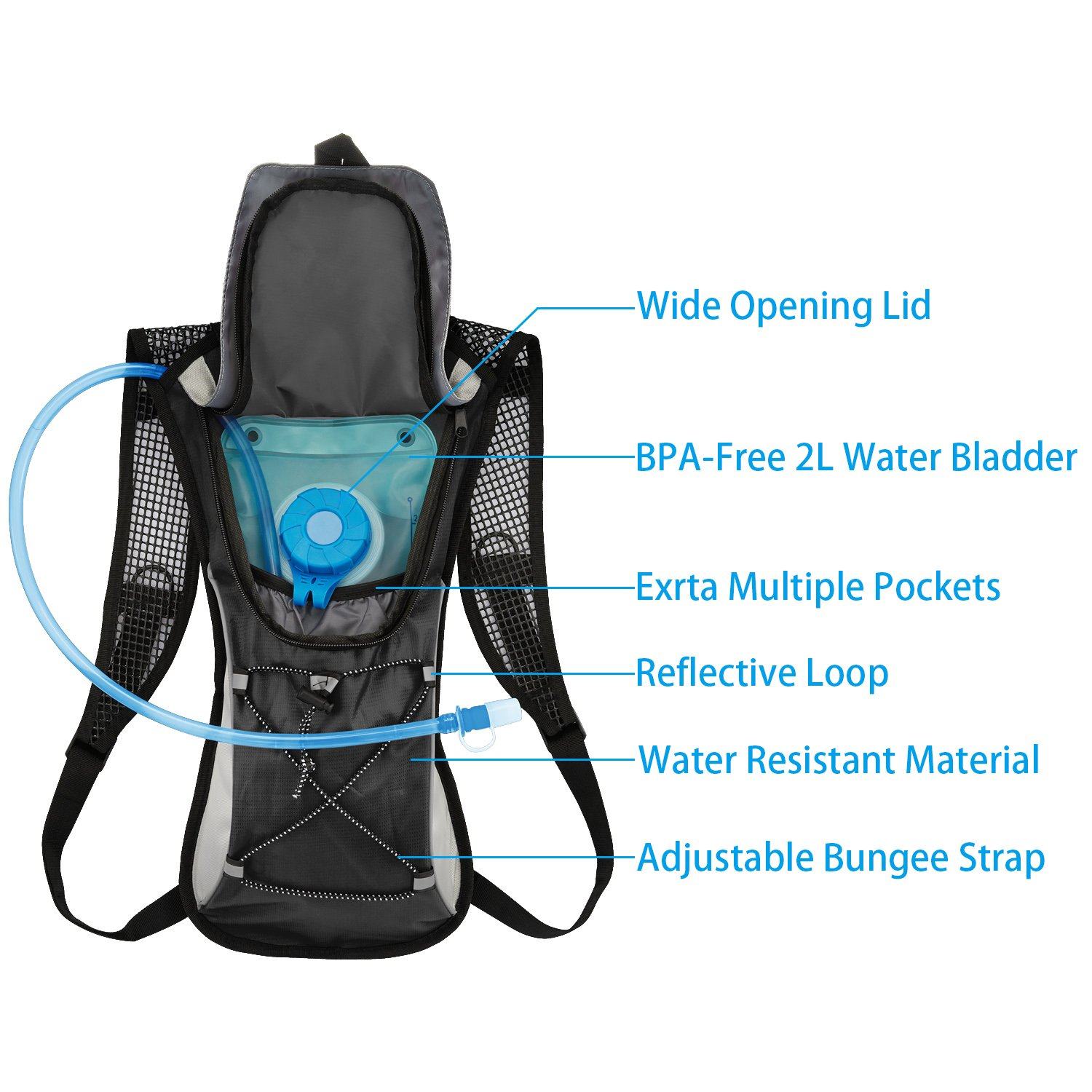 e6b515e439 KUYOU Hydration Pack,Water Backpack with 2L Water Bladder Perfect ...