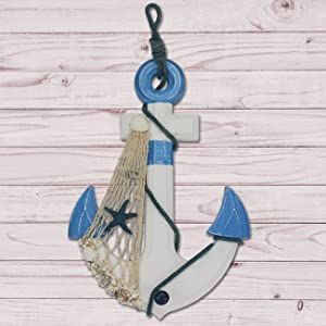 Sunnyglade 15.5 IN Nautical Wooden Anchor with Rope & Crossbar Large Nautical Anchor Wall Decor Door Hanging Ornament for Ocean/Nautical/Beach Theme Room Decoration (Light Blue)