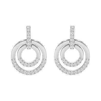 Swarovski Circle Stud Pierced Earrings, White, Rhodium plating