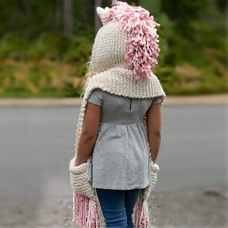 SENSERISE Winter Kids Warm Animal Hats Knitted Hood Scarf Beanies 1 Pink Unicorn(3-10years Old) by SENSERISE (Image #3)