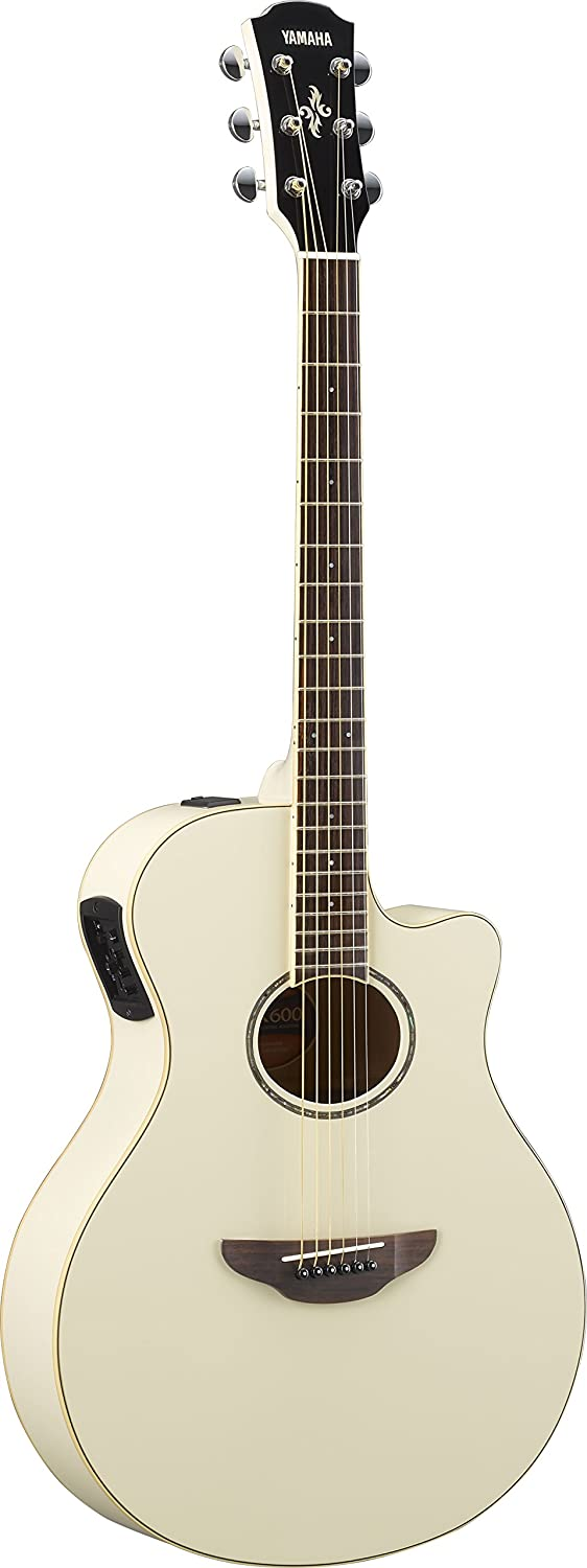 Yamaha APX600 VW Thin Body Acoustic-Electric Guitar, Vintage White Yamaha PAC