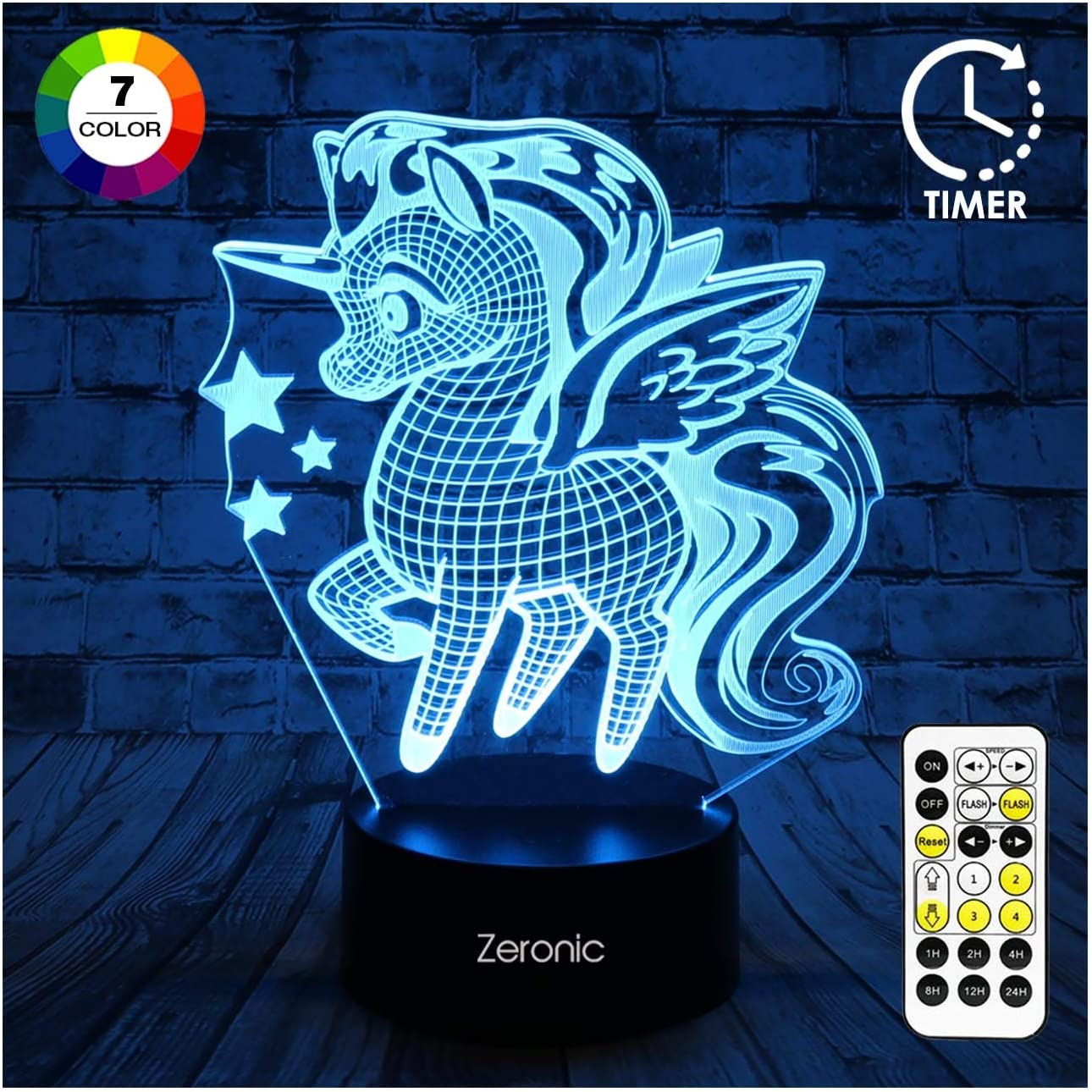 Birthday Gifts for Girls or Boys 7 Color Changing Night Lights with Smart Touch and Remote Control Unicorn Toys Unicorn 3 3D Unicorn Night Light for Kids