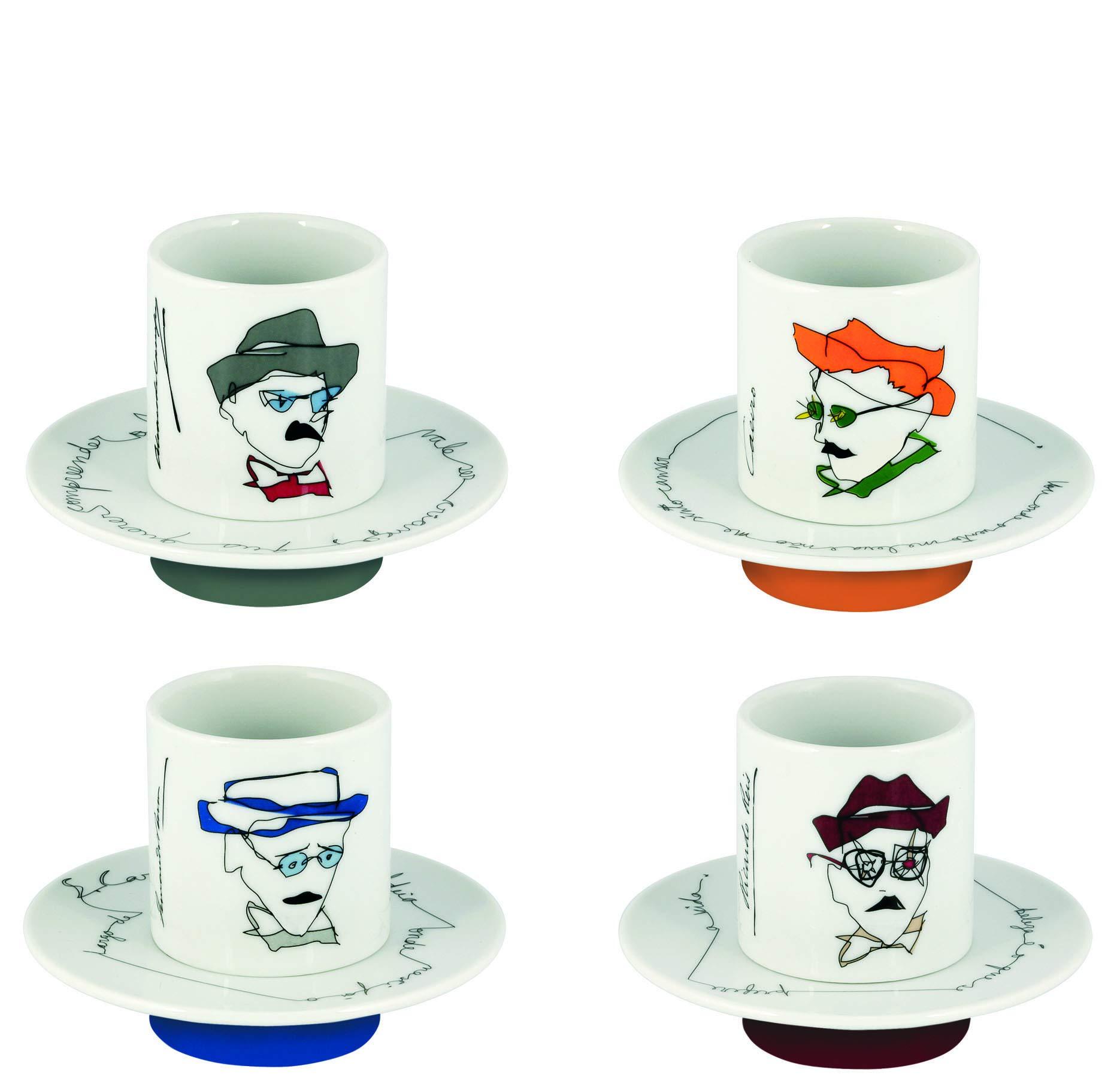 Vista Alegre Porcelain Heteronimos Fernando Pessoa Tribute Set Of 4 Coffee Cups & Saucers