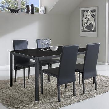 Vs Venta Stock Set De Table Et 4 Chaises Elodie Noir Noir