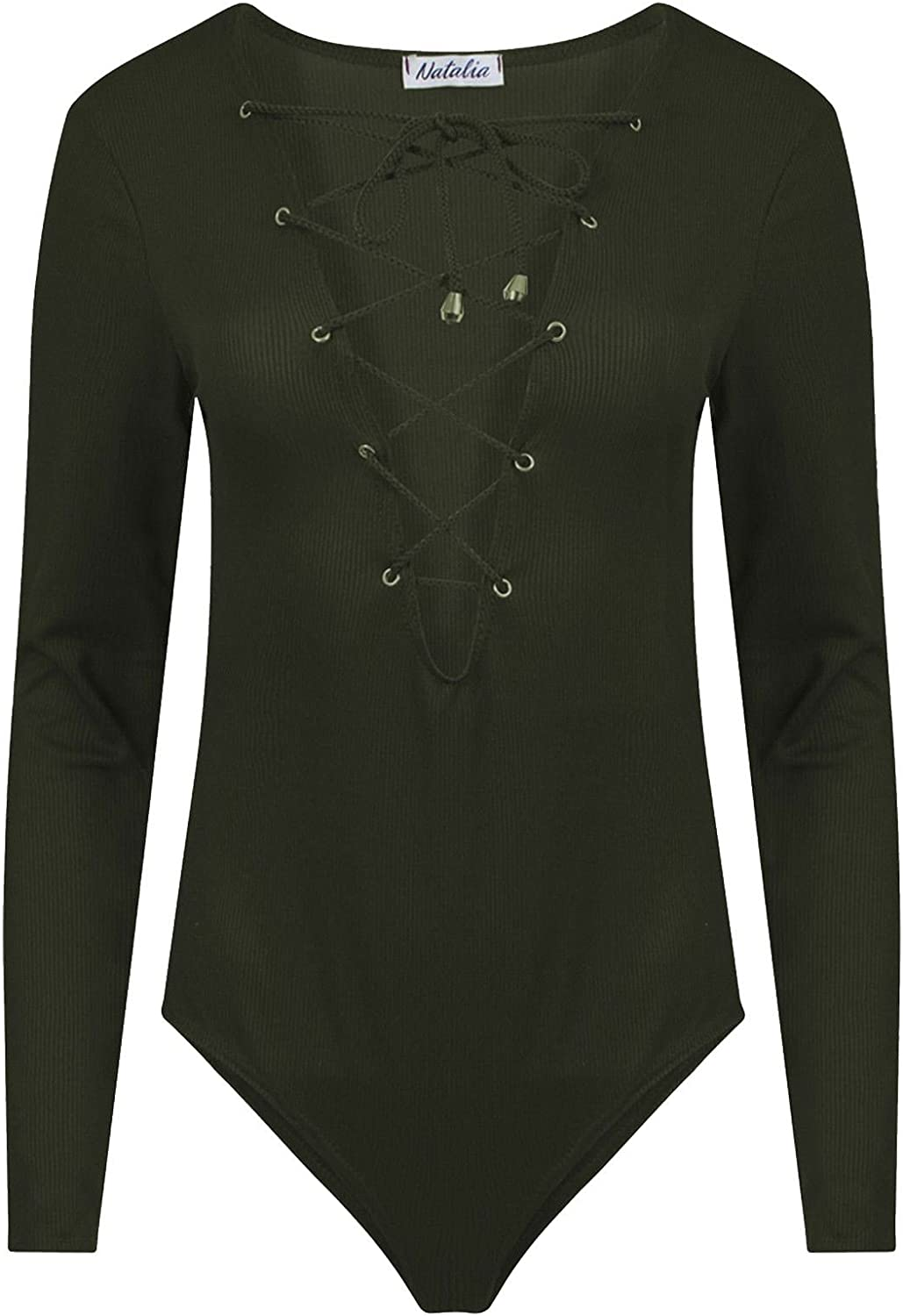 Rimi Hanger Womens Eyelet Lace Up Ribbed Bodysuit Ladies Long Sleeve Ribbed Front Plunge Top