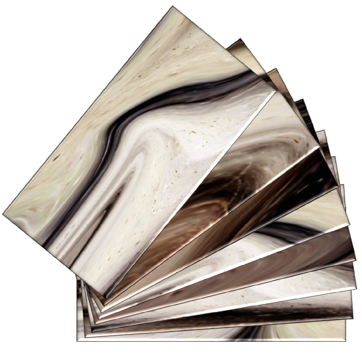 SkinnyTile 04409 Peel and Stick Earth Tone Watercolors 6 in. x 3 in. Glass Wall Tile (48-Pack), 6'' x 3'' by SkinnyTile