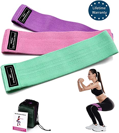 Resistance Bands for Legs and Butt Exercise Bands Booty Bands Hip Bands Wide Workout Bands Sports-Fitness Bands Stretch Resistance Loops Band Anti Slip Elastic Life-time Warranty