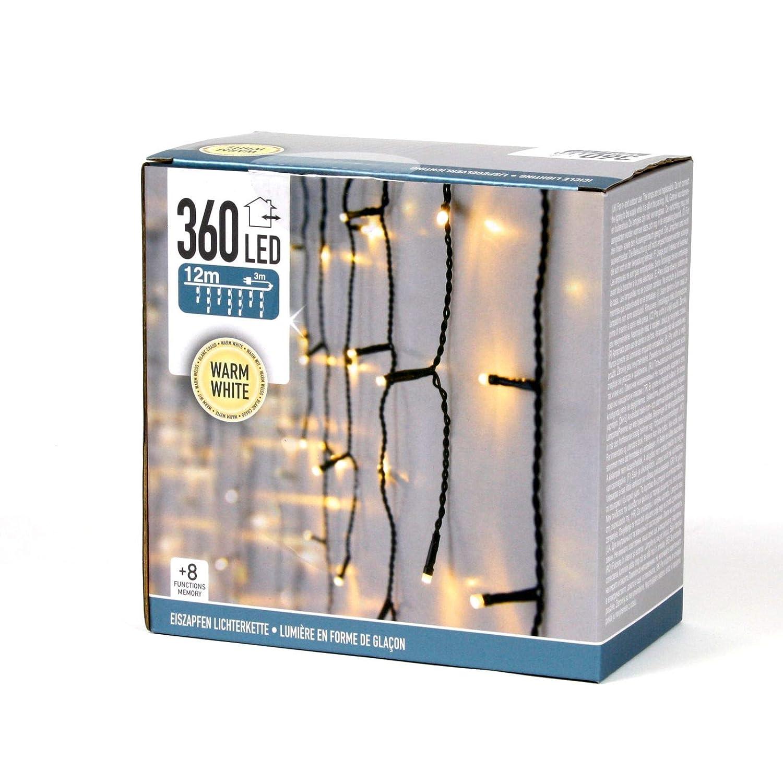 Guirlande lumineuse LED 12M Rideau de pluie 8fonctions Memory 360LED Glace Pluie blanc chaud