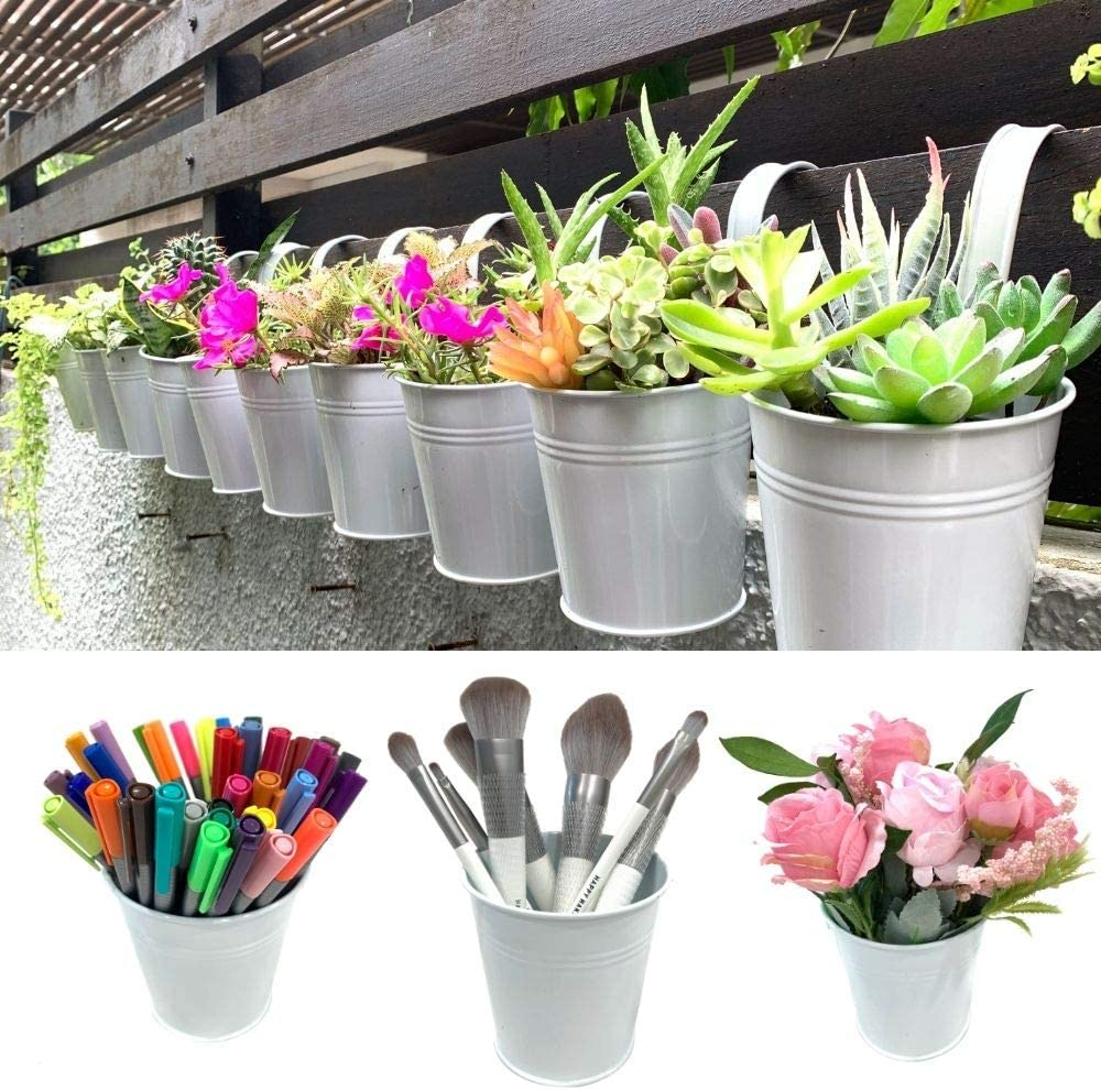 Hanging Pots for Plants - 10 Pack, White Metal , Balcony Garden Rail Railing Fence Planters, Small Succulent Pots, 4 Inch Pots for Plants with Drainage, Hanging Herb Garden, Macetas para Suculentas