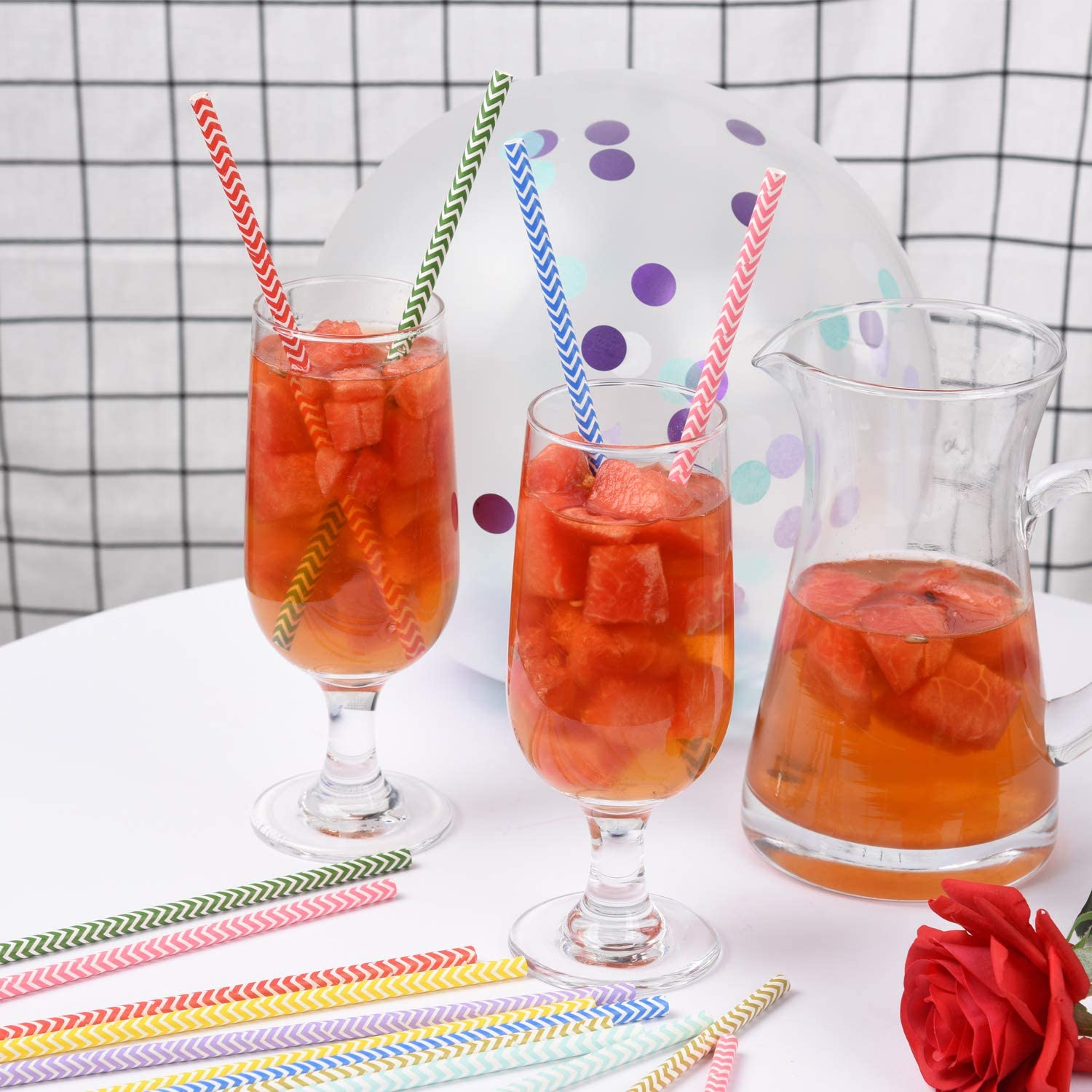 Suitable for Parties Biodegradable Recyclable Drinking Straws 300 PCS Paper Straws Great for Cocktails Weddings /& All Occasions /… Cold Drinks /& Juices