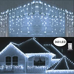 Toodour LED Icicle Lights, 360 LED, 29.5ft, 8 Modes, Window Curtain Fairy Lights with 60 Drops, Led Christmas Lights, Icicle Fairy Twinkle Lights for Party, Holiday, Wedding Decorations (Pure White)