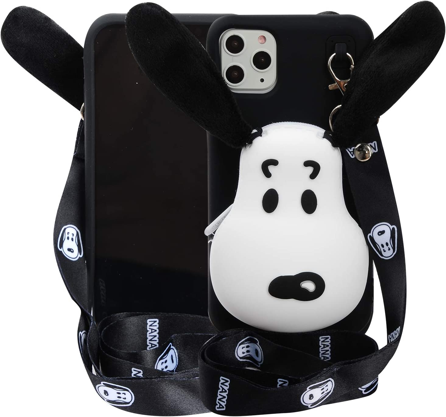 "Cartoon Case for iPhone 11 Pro 5.8"",Phenix-Color 3D Cute Soft Silicone Animated Protective Back Cover with Earphone Pocket and Necklace for iPhone 11 6.1"" (Snoopy, iPhone 11 Pro 5.8"")"