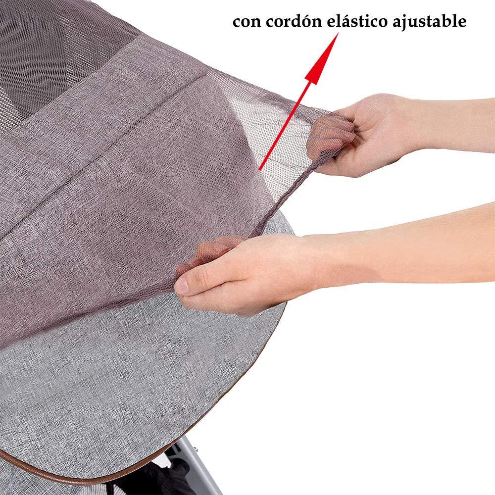 Mosquitera Malla Universal Antiinsectos para Sillas Carro Hamaca Cuna Protecci/ón contra Picaduras con Goma Flexible Marr/ón