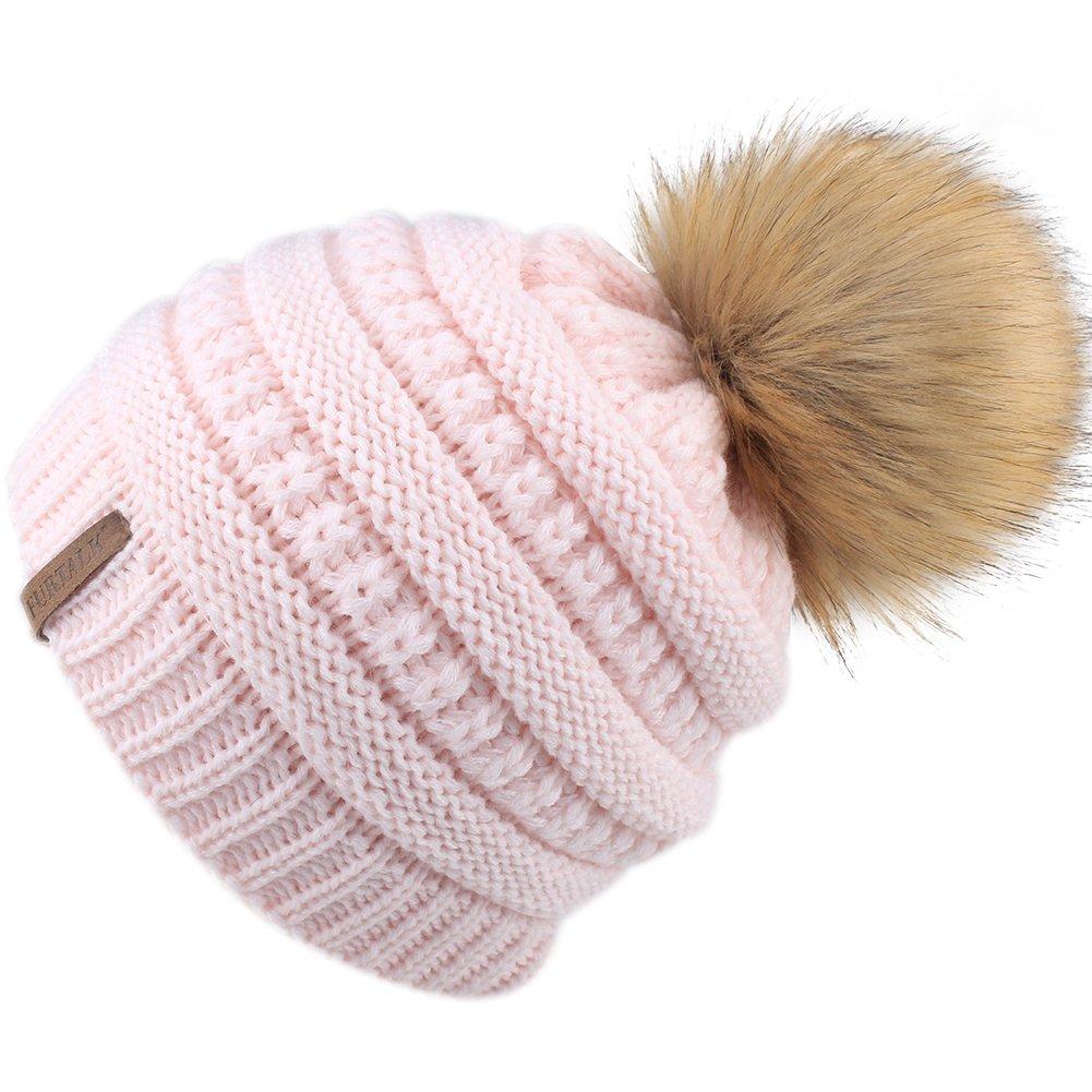 FURTALK Kids Girls Slouchy Winter Knit Beanie Hats Faux Fur Pom Pom Hat Bobble Hat Ski Cap