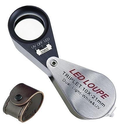 12572b3fe6427 Amazon.com  10x Magnification Jeweler Loupe Triplet Lens Magnifier ...