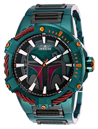 Amazon.com: Invicta Mens Star Wars Automatic-self-Wind Watch with Stainless-Steel Strap, Green, 30 (Model: 27116): Watches