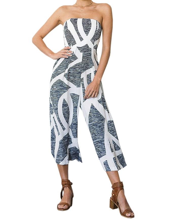 2add23ccf4 Amazon.com  Celltronic Women s Romper Floral Print Strapless Wide Leg Pants  Jumpsuit  Clothing