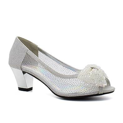 305a921bb0a1 Womens Diamante Sparkling Low Kitten Block Heel Shoes Ladies Sandals Party  Size  Amazon.co.uk  Shoes   Bags