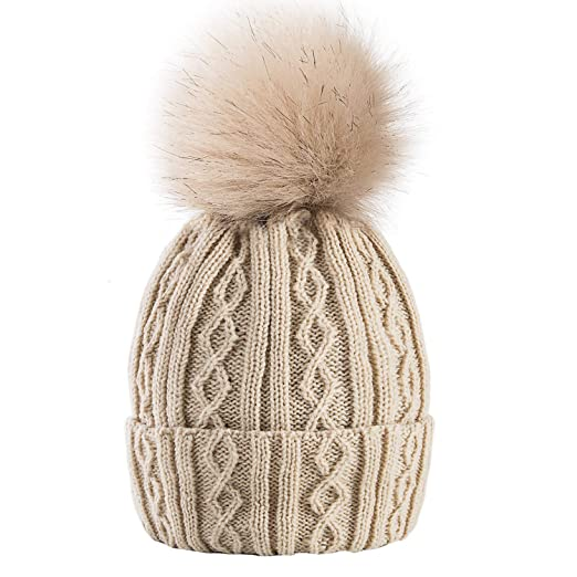 AXYOFSP Women Winter Pom Pom Beanie Hat with Warm Fleece Lined ... b7b47976cd0