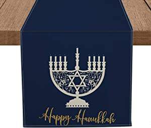 Artoid Mode Happy Hanukkah Table Runner Blue, Seasonal Jewish Menorah Holiday Tablecloth Kitchen Dining Table Linen for Indoor Outdoor Home Party Decor 13 x 72 Inch