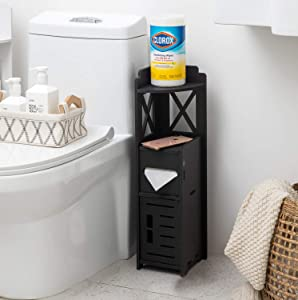 Narrow Bathroom Cabinet,Tiny Nightstand for Bedroom,Corner Bathroom Storage Cabinet for Half Bath, Corner Floor Cabinet for Small Spaces,Black Toilet Paper Holder Stand for Small Bathroom by TuoxinEM