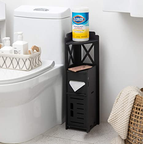 Narrow Bathroom Cabinet Little Cute Shelf For Beroom Corner Bathroom Storage Cabinet For Half Bath Corner Floor Cabinet For Small Spaces Black Toilet Paper Holder Stand For Small Bathroom By Tuoxinem Kitchen Dining