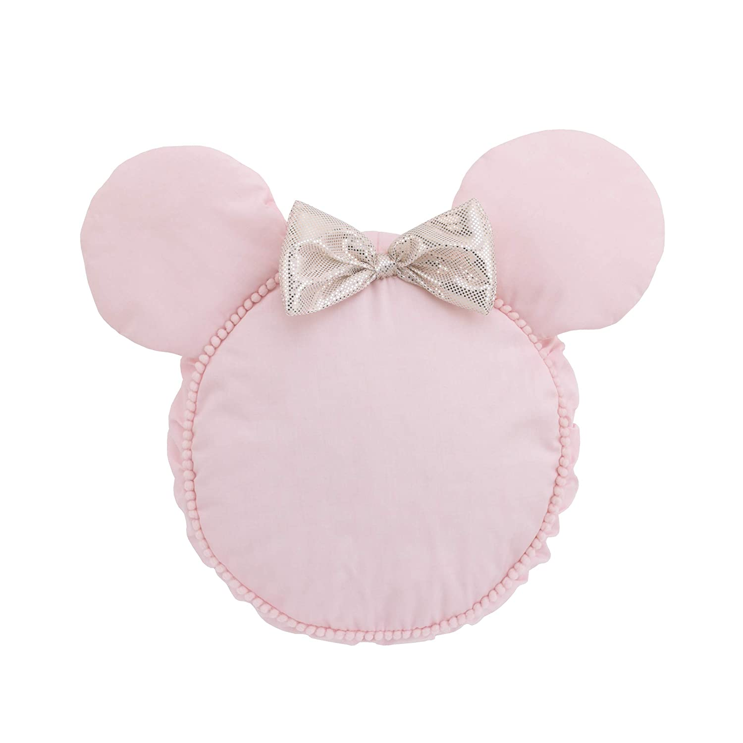 Disney Minnie Mouse Decorative Shaped Pillow with Dimensional Ears & Bow, Pink/Metallic Gold