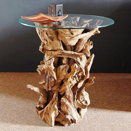 Designer Wurzelholz Tisch mit Glasplatte Ø 60cm | Wurzeltisch aus echtem Teakholz | Couchtisch Wurzelholz Glas massiv gebaut | Teak Holz aus