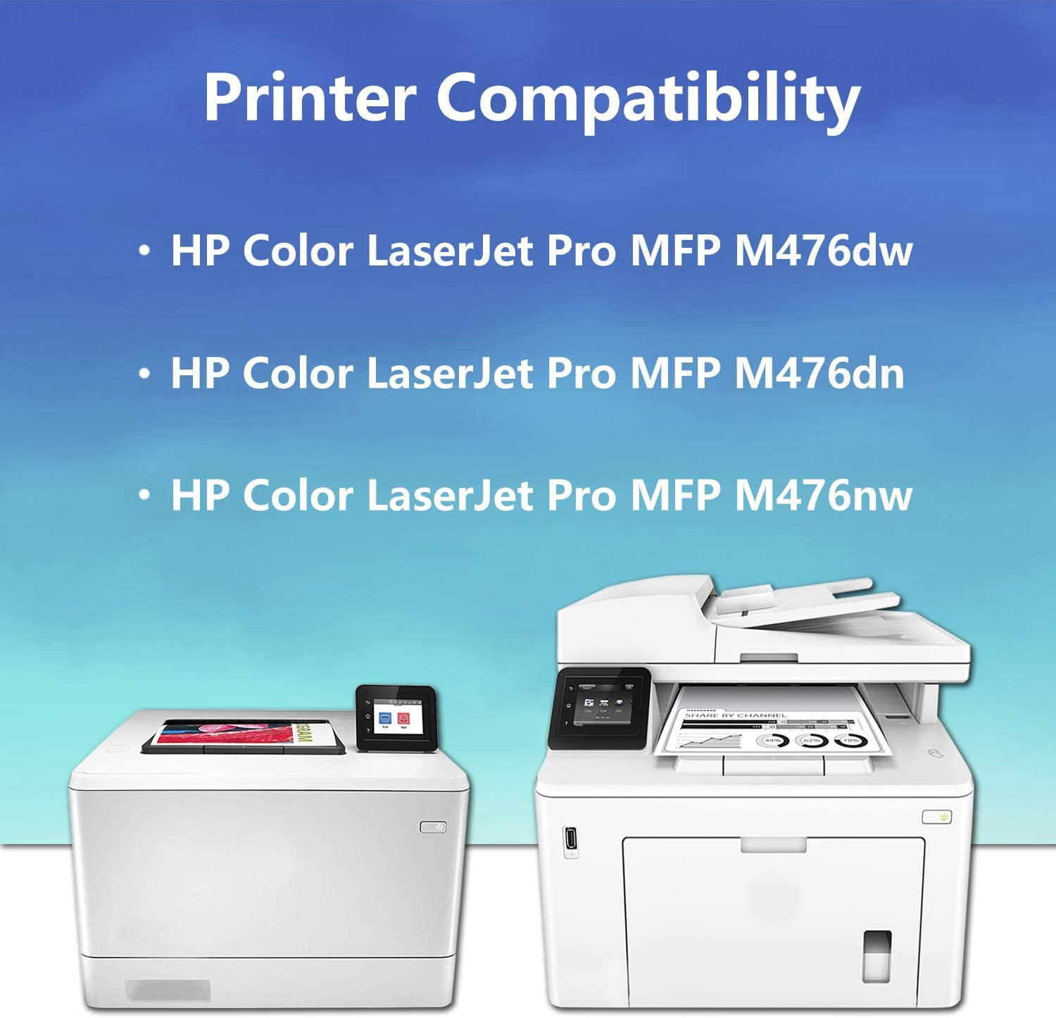 CF386A M476dn M476nw 3BK+1C+1M+1Y CF380X CF381X CF382X CF383X Remanufactured Toner Cartridge Replacement for HP Color Laserjet Pro M476dw CF385A 312X 6 Pack Printer,Sold by AlToner CF387A