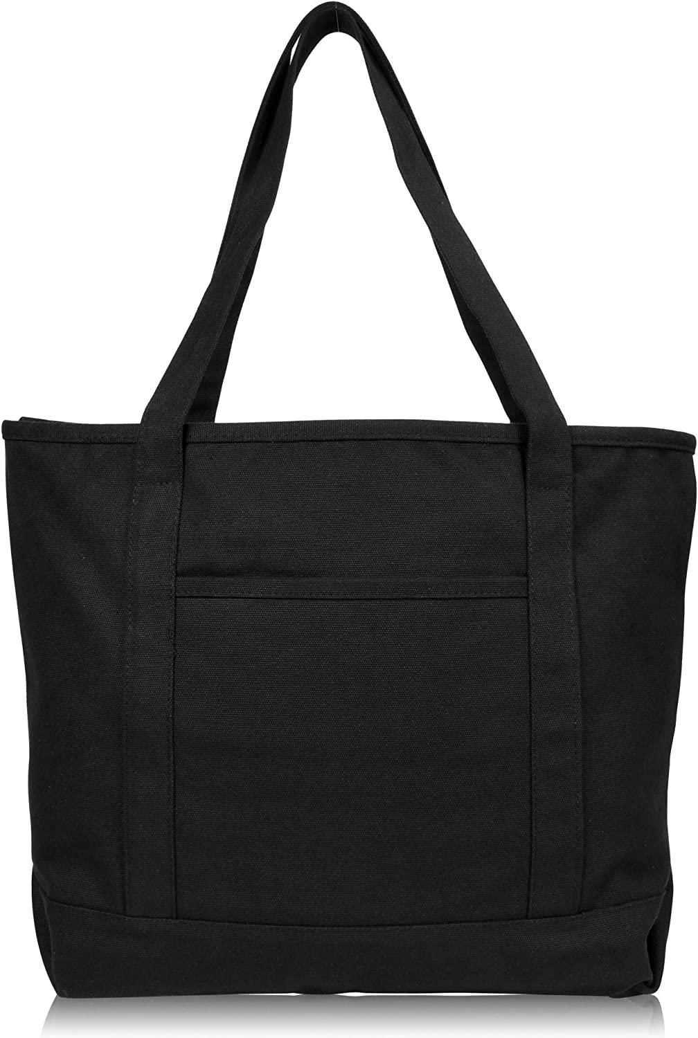 """DALIX 20"""" Solid Color Cotton Canvas Shopping Tote Bag in Black"""