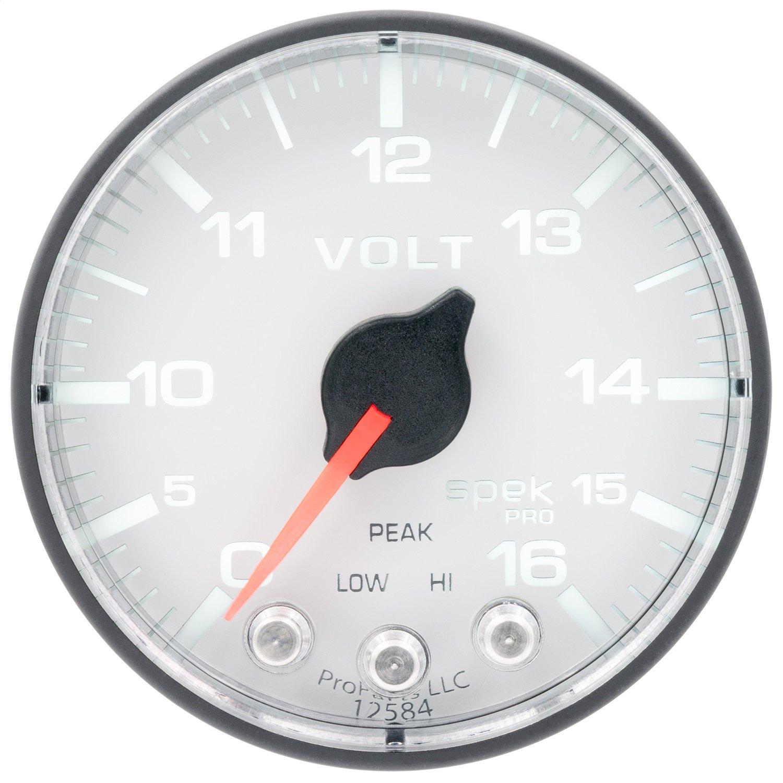 Auto Meter AutoMeter P344128 Gauge, Voltmeter, 2 1/16'', 16V, Stepper Motor W/Peak & Warn, Wht/Blk, Spek-Pro