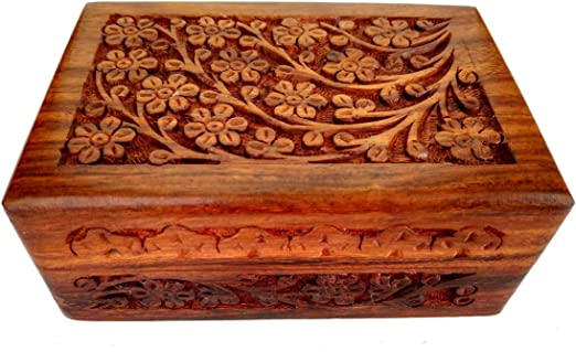 "Vintage  Small Wooden Box Jewelry Trinket Hand Carved Wood Inlay/"" India/"""