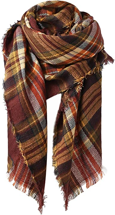Checkered Shawl Red Wrap Shawl Red Plaid Scarf Christmas Gifts for Mom Blanket Scarf Autumn Scarf Plaid Fall Scarf