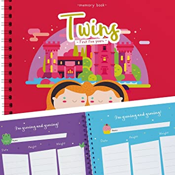 Twins First 5 Years Memory Book Family Tree Letters from Mom /& Dad and Much More Includes Stickers A Gorgeous Baby Keepsake Journal to Cherish Your Twins First Five Years Forever Holidays