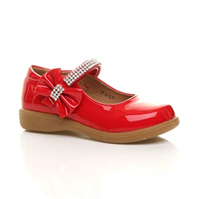 b9aab310446 Ajvani Girls Kids Childrens Low Heel Mary Jane Strap Bow Party Bridesmaid  Shoes Size 1