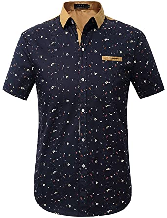SSLR Men's Printing Pattern Button Down Casual Short Sleeve Shirts ...