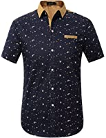 SSLR Men's Printing Pattern Button Down Casual Short Sleeve Shirts