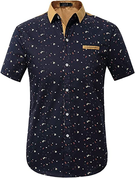 Mens Plus Size Short Sleeve Breathable Printing Fashion Button Front Shirts
