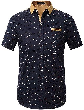 f78e55e4c SSLR Men's Printed Button Down Casual Short Sleeve Cotton Shirts (Small,  Blue)